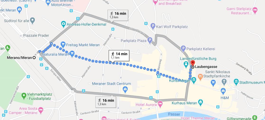 Karte: Weg vom Bahnhof ins Zentrum von Meran